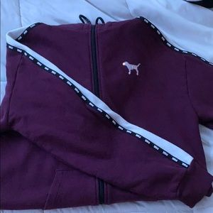 fleece maroon PINK full zip sweatshirt